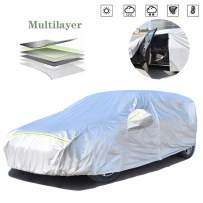 AOYMEI Full Car Cover Waterproof All Weather, Automobile Cover Sunproof Rainproof Windproof Scratch Resistant Reflective Strips Cotton Inside (Hatchback, fit Length (158''-173''))