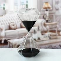 Creative Romantic Colorful Fashion Diamond Shape Glass Hourglass Sandglass Timer Home Desk Decor Kithchen Cooking Countdown Use Xmas Birthday Gift(5 Minutes Black)