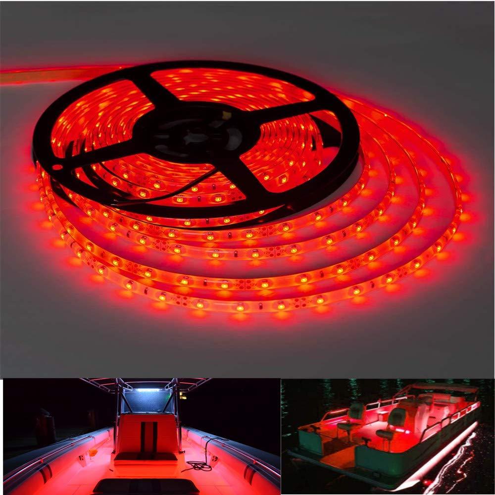 Vbakor Pontoon LED Strip Lights, 12V 5M/16.4FT Waterproof Marine LED Light Boat Interior Light, Boat Deck Light for Pontoon Fishing Boat, Extension Cable Included