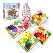 Mosthink Wooden Jigsaw Puzzles for 1 2 3 Years Old Boys and Girls Toddlers, Educational Toys for Kids , 5 Pack Bright Vibrant Color Animal Shapes Puzzles with Drawstring Bag for Easy Storage(Animal)