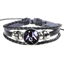 H.ZBRUJ Constellation Leather Bracelet Adjustable Punk Bracelet Braided Rope Wristbands for Men Women