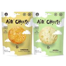 AIR CHEESE Low Carb Keto Friendly Protein Puffs | 7g Protein Per Serving | Crisp, High Protein, Gluten Free Snack Pack | Real Cheese, No Artificial Flavors (Cheddar and Gouda, 8 Large Bags)