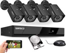[8CH Expandable] SANSCO Pro CCTV Security Camera System with FHD 1080P DVR, 4 Bullet Cameras (All HD 1080p 2MP), 1TB Internal Hard Drive 24/7 Or Motion Recording - All-in-One Wired Surveillance Kit