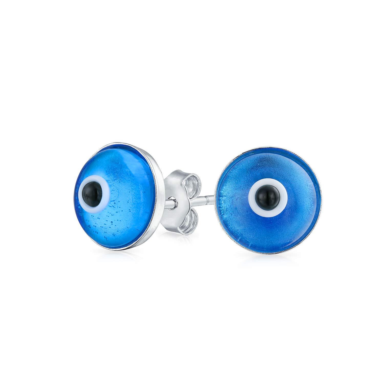 Blue Nazar Evil Eye Spiritual Protection Round Stud Earrings For Women Teen Murano Glass 925 Sterling Silver 9MM