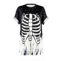 Plustrong Womens Summer Casual Punk T Shirt Alien Printed Couple Shirts Tops