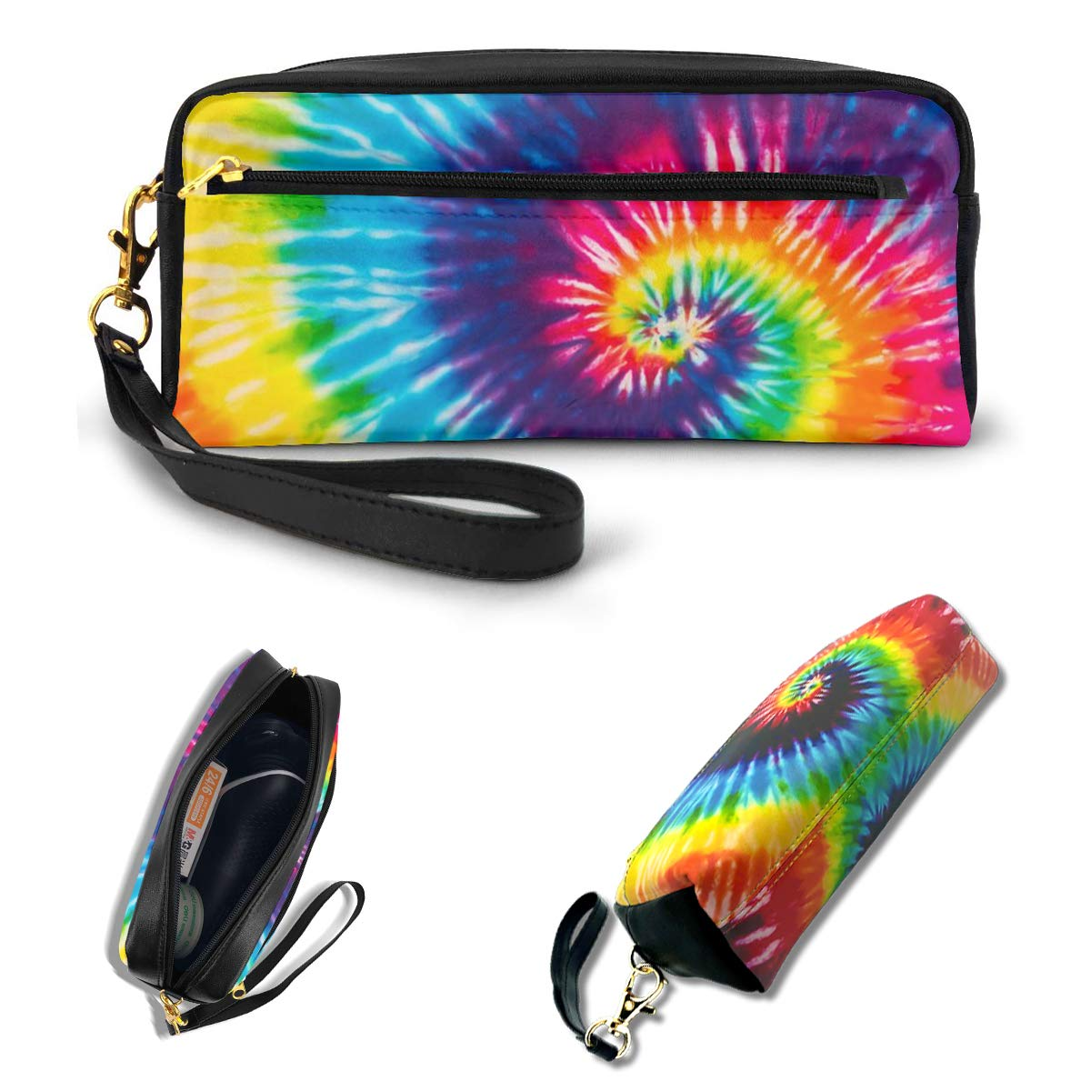 AHOOCUSTOM Cute 3D Tie Dye Pencil Case for Girls Boys Teens, Rainbow Makeup Bag for Women, Office School Stationery Soft Faux Leather Zippers Portable Pouch
