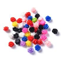 Craftdady 50Pcs Opaque Resin Rose Flower Beads 9x7mm Random Mixed Colors Flatback Floral Loose Charm Beads for Jewelry Scrapbooking Embellishments Making Hole: 1mm