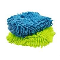 AVA Prime Ultimate Car Wash Mitt - 2 Pack Large Size-Waterproof-Premium Chenille Microfiber Wash Mitt - Wash Glove - Lint Free - Scratch Free(Sky-Blue+Green)