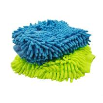 AVA Prime Ultimate Car Wash Mitt - 2 Pack Large Size-Waterproof-Premium Chenille Microfiber Wash Mitt - Wash Glove - Lint Free - Scratch Free(Sky-Blue+Green)