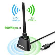 Wireless USB Adapter 600Mbps Long Range USB WiFi Adapter for PC, Desktop, Laptop of Windows, Mac OS X, High Gain Dual Band Wireless Network Adapter with 3dBi Antennas, USB 2.0 Extension Cradle