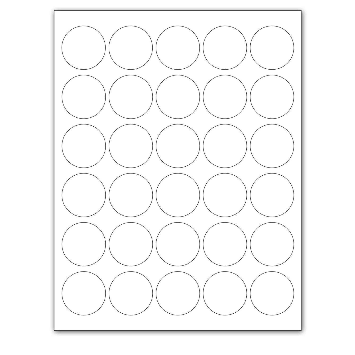 """Laser/Ink Jet White Labels (1.5"""" Round - 30 Per Page 