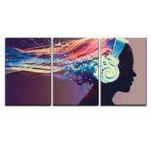 """wall26 - 3 Piece Canvas Wall Art - Woman with Magic Glowing Headphones on Dark Background,Illustration Painting - Modern Home Decor Stretched and Framed Ready to Hang - 24""""x36""""x3 Panels"""