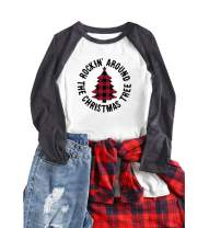 Anbech Women Merry Christmas Plaid Leopard Tree Graphic Shirt Ain't No Law Tee Raglan Splicing Top