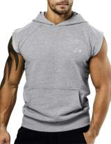 PAIZH Men's Bodybuilding Sleveless Hoodies Gym Workout Hooded Tank Tops