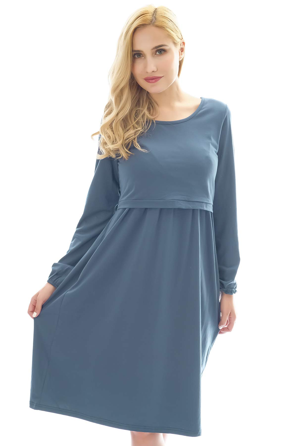 Bearsland Womens Maternity Long Sleeve Soft Nursing Breastfeeding Dresses Pockets