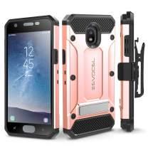 Evocel Explorer Series Pro Compatible with Galaxy J3 2018/ J3 V 3rd Gen/Express Prime 3/ J3 Achieve/ J3 Star/Amp Prime 3 Heavy Duty Case w/Tempered Glass, Holster, Kickstand – Rose Gold