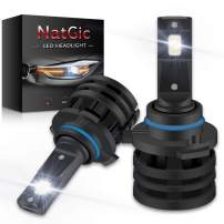 NATGIC 9006 HB4 LED Headlight Bulbs High Power 55W Super Bright 12000LM Mini Design All-in-One Conversion Kit 6000K Xenon White,DOT Approved -2 Yr Warranty (Pack of 2)