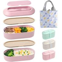 SAYOPIN Bento Box Japanese Lunch Box, 2-In-1 Compartment, Wheat Straw, Leak-proof Eco-Friendly Stackable Bento Lunch Box with Elastic band for Kids and Adults (Pink)