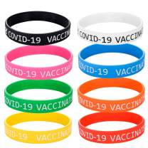 16pcs Silicone Wristbands Vaccinated Covid-19 Bracelets Vaccination Identification Adult Teenagers Kids Gift Waterproof Rubber Bracelet for Women Men