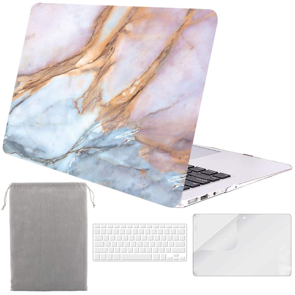 Sykiila for Older MacBook Air 13 Inch Case for 2010-2017 Old Version,Model A1369 / A1466 Hard Shell 4 in 1 Folio Case & HD Screen Protector & TPU Keyboard Cover & Sleeve - Blue Pink Marble