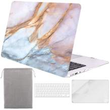 Sykiila for MacBook Air 11 Inch Case 4 in 1 Hard Shell Case & HD Screen Protector & Sleeve & TPU Keyboard Cover for Model A1370 / A1465 - Blue Pink Marble