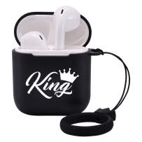 LuGeKe Cases for Airpods 1 and 2 with Keychain,Luxury King PatternedCasewithProtective Soft TPU,Shockproof Cover for Girls Boys Kids Women Men(King with Crown,Support Wireless Charge)