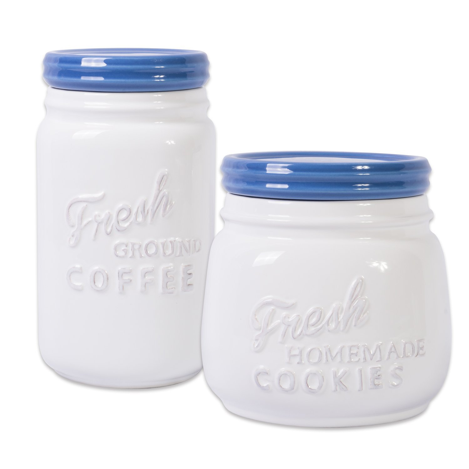 DII Ceramic Kitchen Containers, Set of 2 Blueberry, Cookie Jar & Coffee Canister