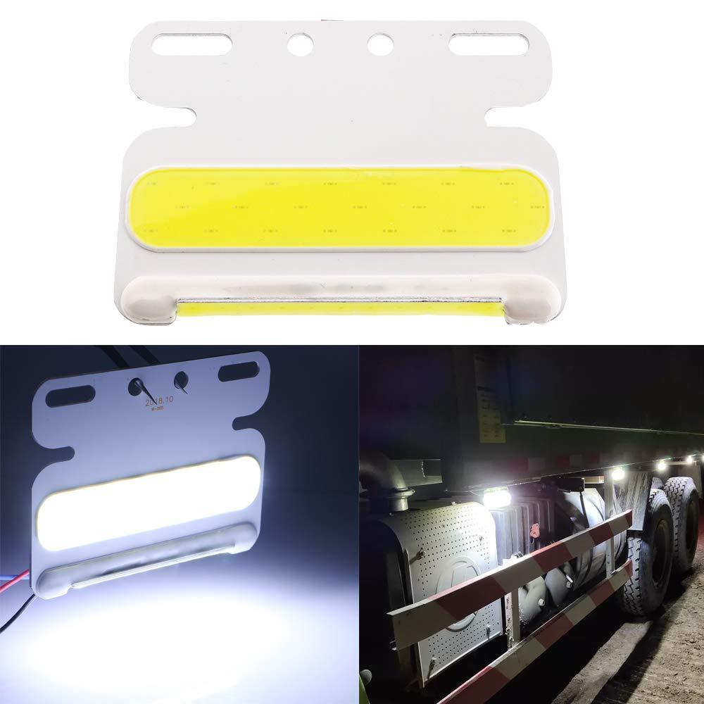 TIDO Surface Mount LED Trailer Side Marker Lights,Mini Side Marker Clearance Indicator Lamp for Truck Cargo RV,Waterproof IP67,24V,White (Pack of 2)