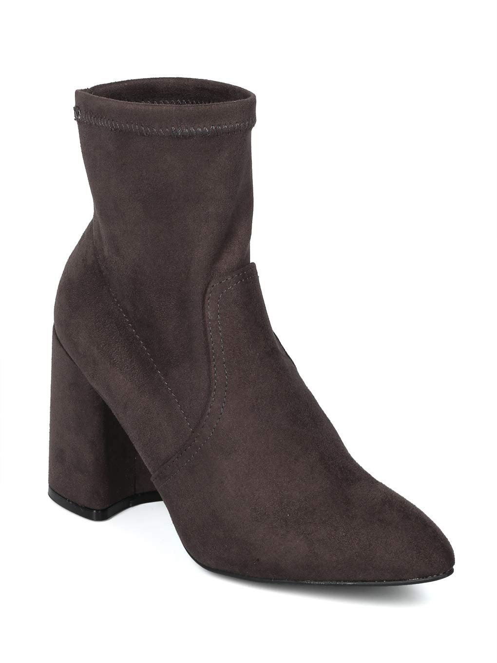 Alrisco Women Faux Suede Stretch Pointy Toe Chunky Heel Riding Bootie - IB14