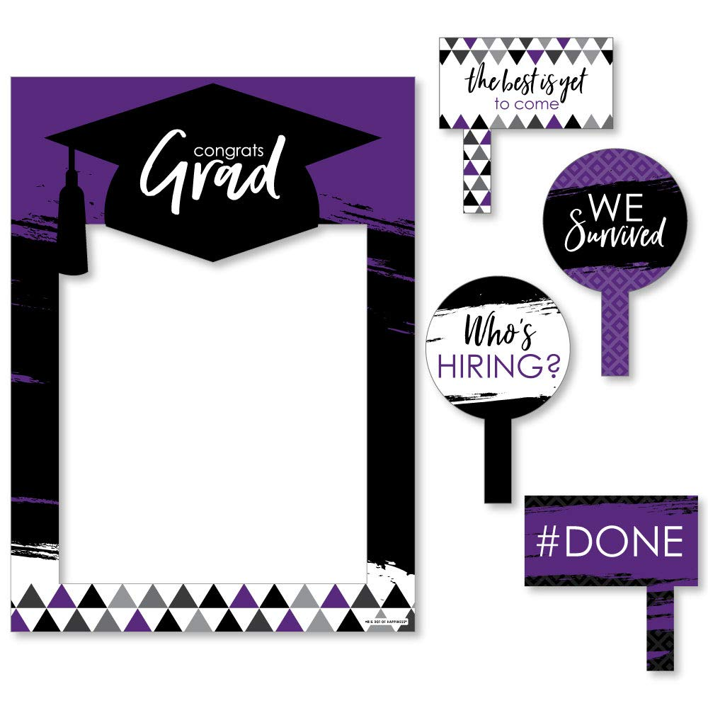 Purple Grad - Best is Yet to Come - Purple Graduation Party Selfie Photo Booth Picture Frame & Props - Printed on Sturdy Material