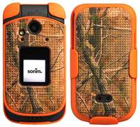Sonim XP3 Case with Clip, Nakedcellphone [Orange Camouflage] Tree Leaf Real Woods Camo Cover with [Rotating/Ratchet] Belt Hip Holster Holder Combo for Sonim XP3 Flip Phone (XP3800)