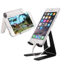 2 Pack Cell Phone Stand, YuCool Universal Adjustable Aluminum/ABS Desktop Tablet PC Stand Holder with Anti-Slip Base and Convenient Charging Port, Fits for All 3.5-10'' Smartphones (Black, White)
