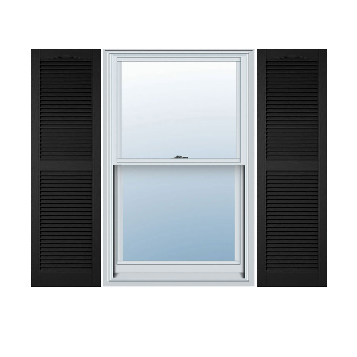 "Ekena Millwork LL1C18X05100BL Custom Cathedral Top Center Mullion, Open LouverShutter (Per Pair)18""W x 51""HBlack"