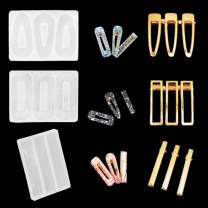 iSuperb 3 pcs Silicone Resin Molds Hair Clip Casting Molds Clear Epoxy Mold Including 9 Accessories for Jewelry Hair Pin Making DIY Crafts (3 Molds)