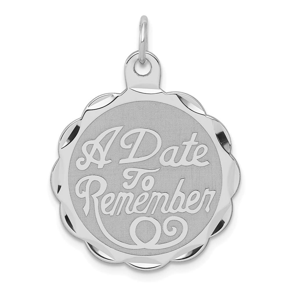 925 Sterling Silver A Date To Remember Disc Pendant Charm Necklace Special Day Fine Mothers Day Jewelry For Women Gifts For Her