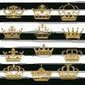 Laeacco Black and White Stripes Background 6.5x6.5ft Vinyl Photography Background Gold Crown Chic Decoration Striped Backdrop Photo Video Studio Props