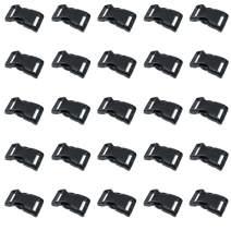 Black Plastic Side Release Buckles for Paracord Bracelets (1 Inch, 25 Pack)