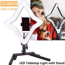 """GIJUANRING 15"""" Tabletop Ring Light LED Desktop Selfie Beauty Light Star Lamp Dimmable Bi-Color Photography Lighting Kit with Stand and Phone Holder for Makeup, Live Stream, Vlog YouTube Video"""