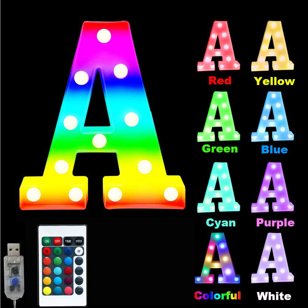 16 Color Changing Marquee Letter Light,Light Up Colorful 26 Alphabet Signs – Home Decor Name Signs – Battery Operated LED Remote Timer – Lighted Vintage Accessories & Decorations-A