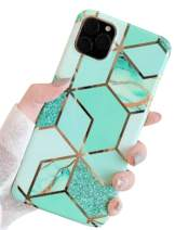 Aulzaju Case for iPhone 11 Pro 5.8 Inch, iPhone 11 Pro Bling Marble Hard Case Slim Stylish Shockproof Cover for iPhone 11 Pro Hybrid Silicone Plating Case-Green