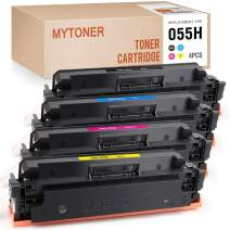 MYTONER (No Chip) Compatible Toner Cartridges Replacement for Canon 055H CRG-055 for Color imageCLASS MF741Cdw MF743Cdw MF745Cdw MF746Cdw LBP664Cdw (Black Cyan Magenta Yellow,4-Pack)