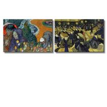 "wall26? - The Dance Hall in Arles/Memory of The Garden at Etten (Ladies of Arles) by Vincent Van Gogh | Canvas Prints Wall Art, Ready to Hang - 16"" x 24"" x 2 Panels"