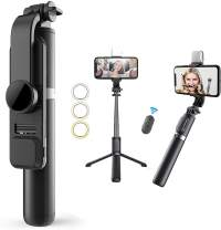 """Selfie Stick & Phone Tripod,MQOUNY Portable Selfie Fill Light,Portable All-in-One Professional Travel Tripod with Remote, Compatible with Android/iPhone,Extends to 41"""" (Black)"""