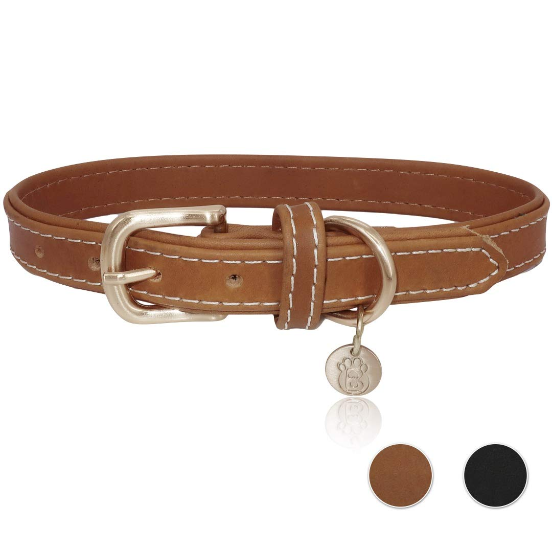 BARKBAY Soft Touch Genuine Leather Collar Luxury Real Leather Collar for Small Medium Large Dog