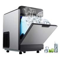 VEVOR 2 in 1 Commercial Ice Maker with Water Dispenser 78LBS in 24 Hrs 14LBS Storage 16 Bullet Cubes in One Cycle w/Scoop Perfect for Office Snack Bar