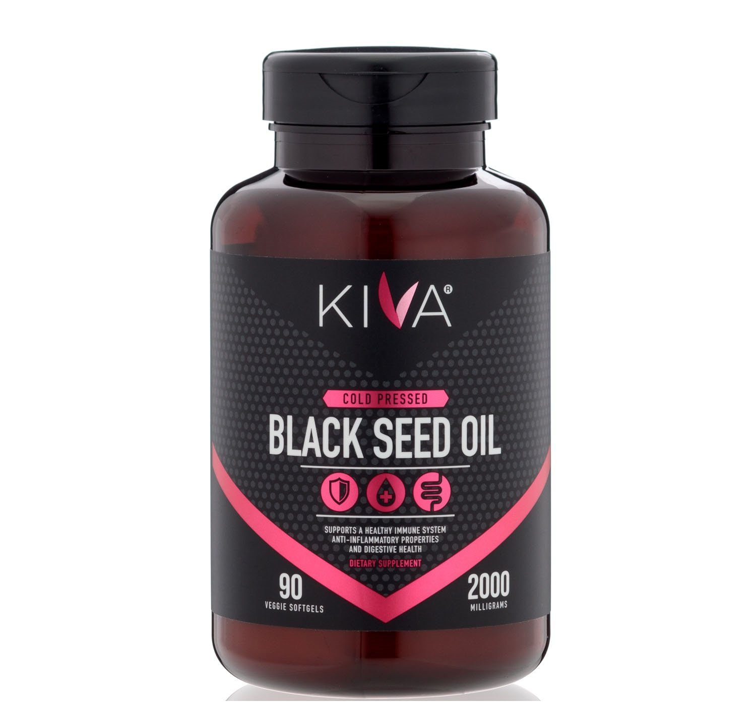 Kiva Black Seed Oil Capsules, 2000 mg per Serving- Organic, Cold-Pressed and RAW (90 Softgels)