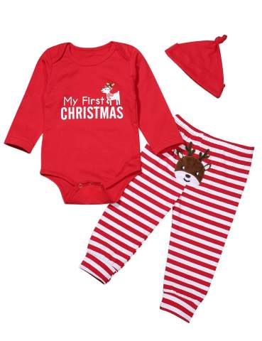 Christmas Newborn Baby Boy Girl Outfit My First Christmas Letters Deer Romper + Stripe Pants + Hat Clothes Set