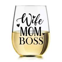 She's the Wife Mom Boss Wine Glass with Funny Saying, 15oz Tumbler Gifts by Momstir