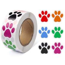 Pengxiaomei (1 Inch/ 500 Stickers) Paw Prints Stickers,Colorful Self-Adhesive Labels Animal Shape Wall Decal,Paw Stickers Roll for Kids,Parties, Vets, Kennels and Mailing