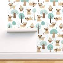 Spoonflower Pre-Pasted Removable Wallpaper, Pug Dog Pet Animal Cute Puppy Park Animals Year Print, Water-Activated Wallpaper, 24in x 108in Roll
